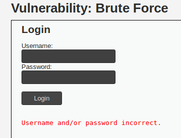 Failed Login Message